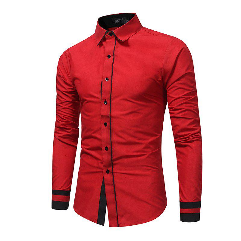 Men 'S Fashion Stitching Casual Shirt Men' S Business Long - Sleeved Large Size Shirt 7679 цена и фото
