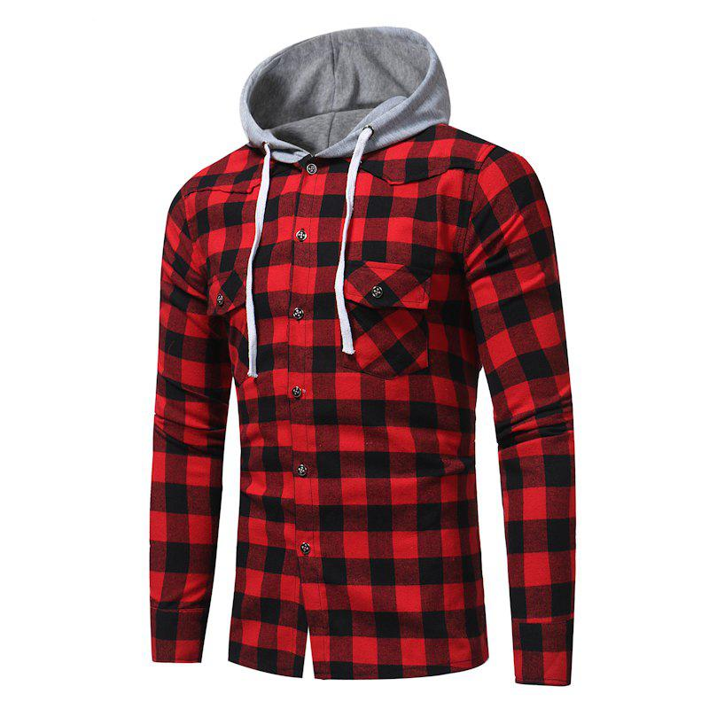 Fashion Plaid Hooded Long Sleeve Cotton Shirt fashion plaid hooded long sleeve cotton shirt