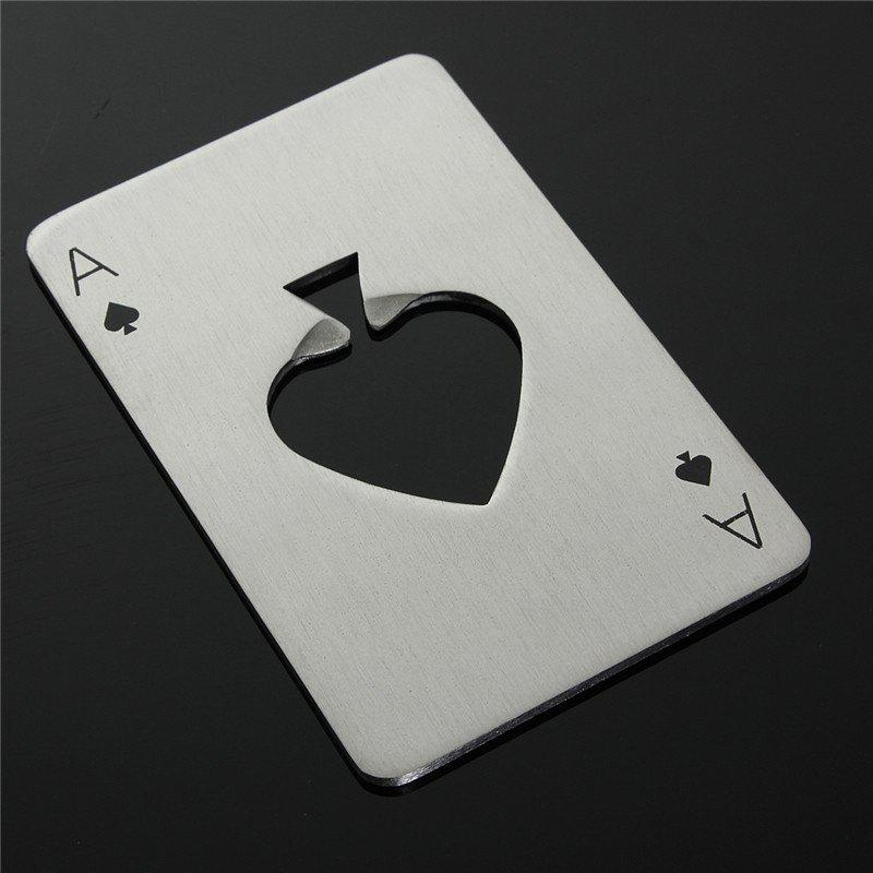 Stainless Steel Poker Card Bottle Opener Fashional Creative Spades Ace Shape Elegant Beer Opener For KTV Kitchen Bar Too - SILVER
