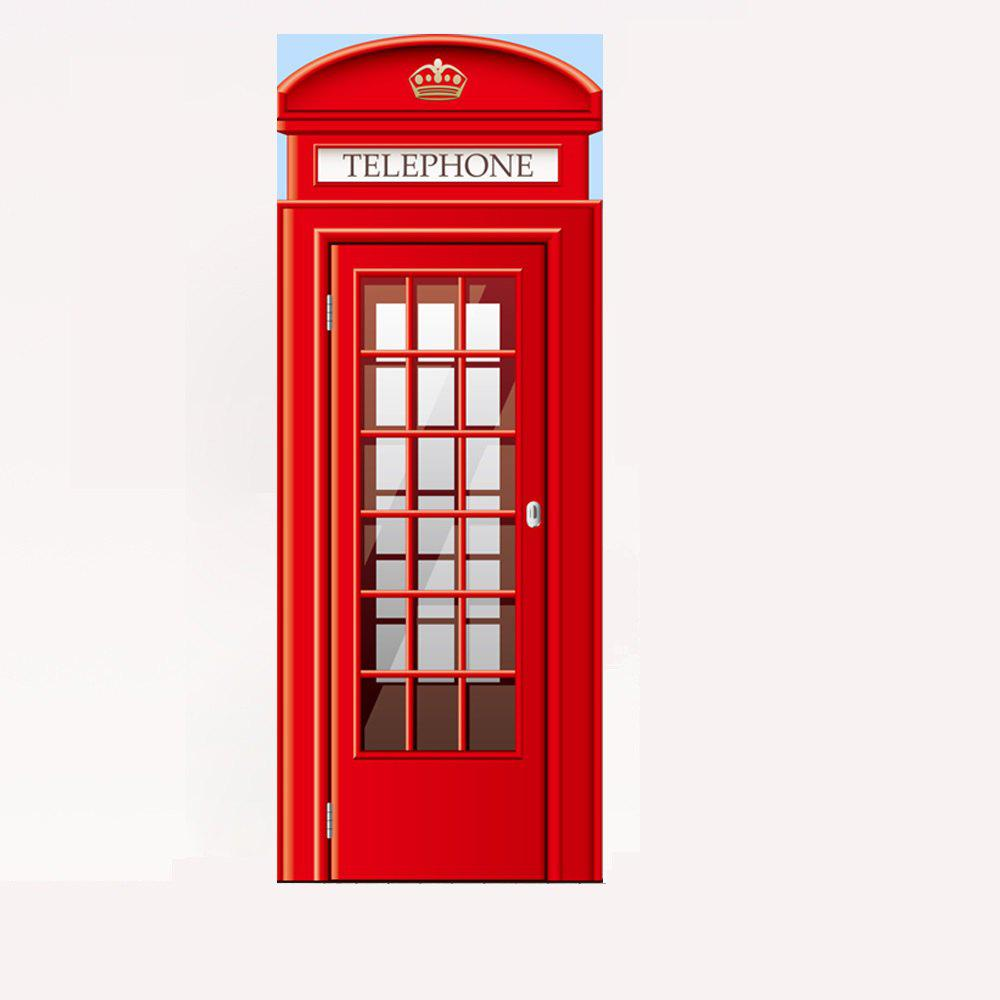 3D Red Telephone Booth Door Mural Sticker Decorative 3D Call Box Door Stickers Mural Large Size 77x200cm For Living Room custom mural wallpaper creative space forest path 3d wall sticker wallpaper modern living room bedroom door mural pvc home decor