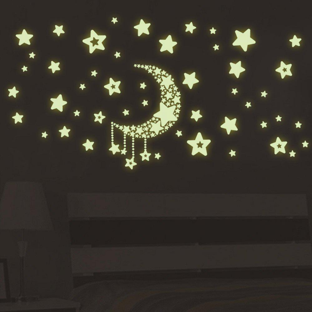 Luminous Stars Moon Wall Stickers Home Glow In The Dark Stars For Kids Baby Room DIY Wall Art 250132601