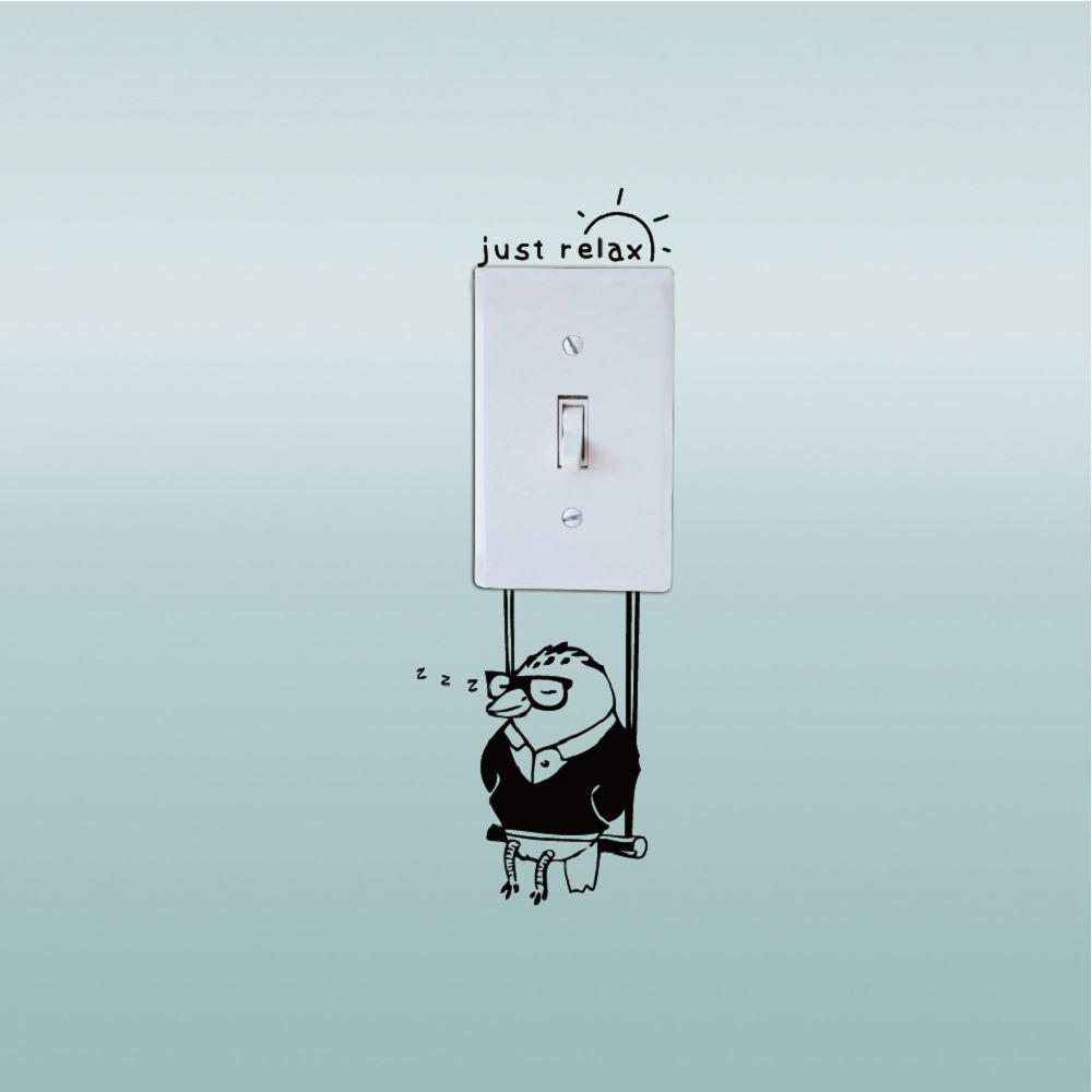 DSU Woodpecker Save Electricity Switch Sticker Funny Cartoon Animal Vinyl Wall Sticker