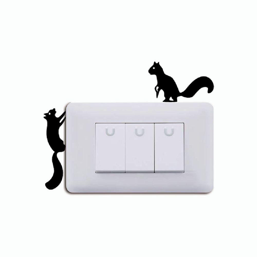DSU Creative Squirrels Silhouette Switch Sticker Cartoon Animals Vinyl Wall Stickers christian analytical chemistry 3ed