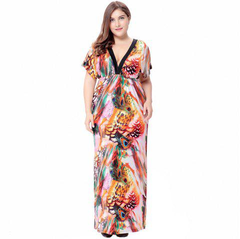 2018 Plus Size Bohemian Mopping Ice Silk Dress Pink Xl In Dresses