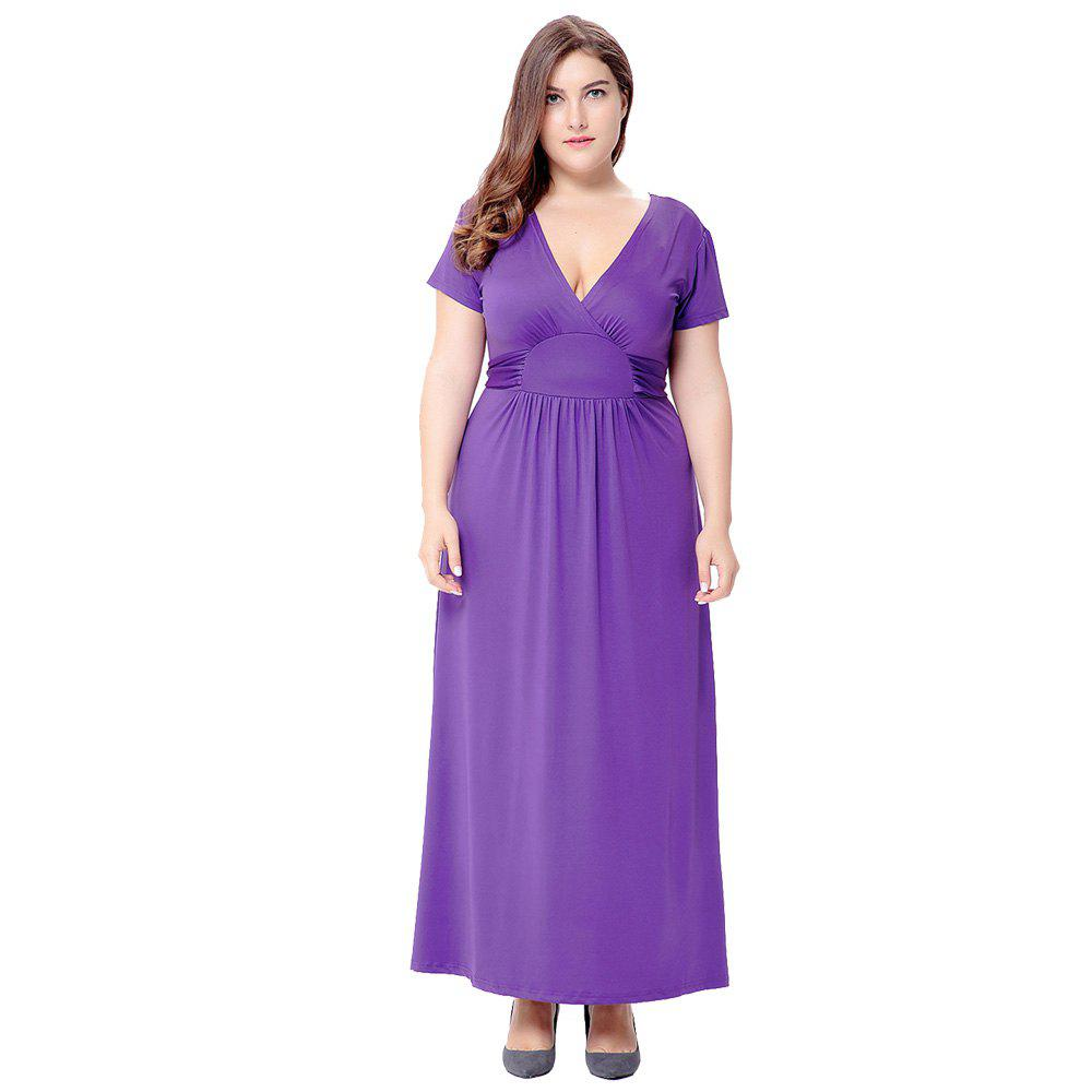 2018 Solid V Neck Short Sleeve Club Party Plus Size Dress PURPLE XL ...