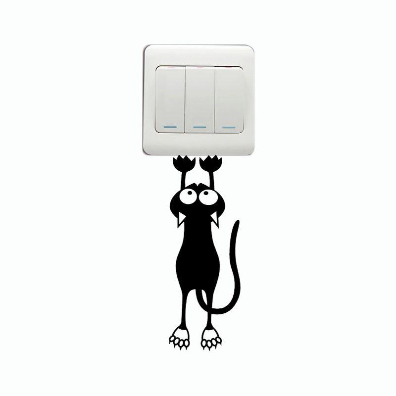 DSU Funny Cat Hanging On Switch Sticker Creative Animal Silhouette Vinyl Wall Decal