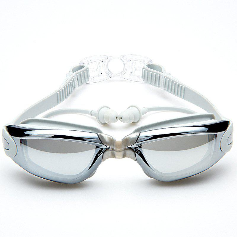 Swimming Goggles with Protective Case Nose Clip and Ear Plugs Mirrored  Clear Anti Fog Waterproof - GRAY