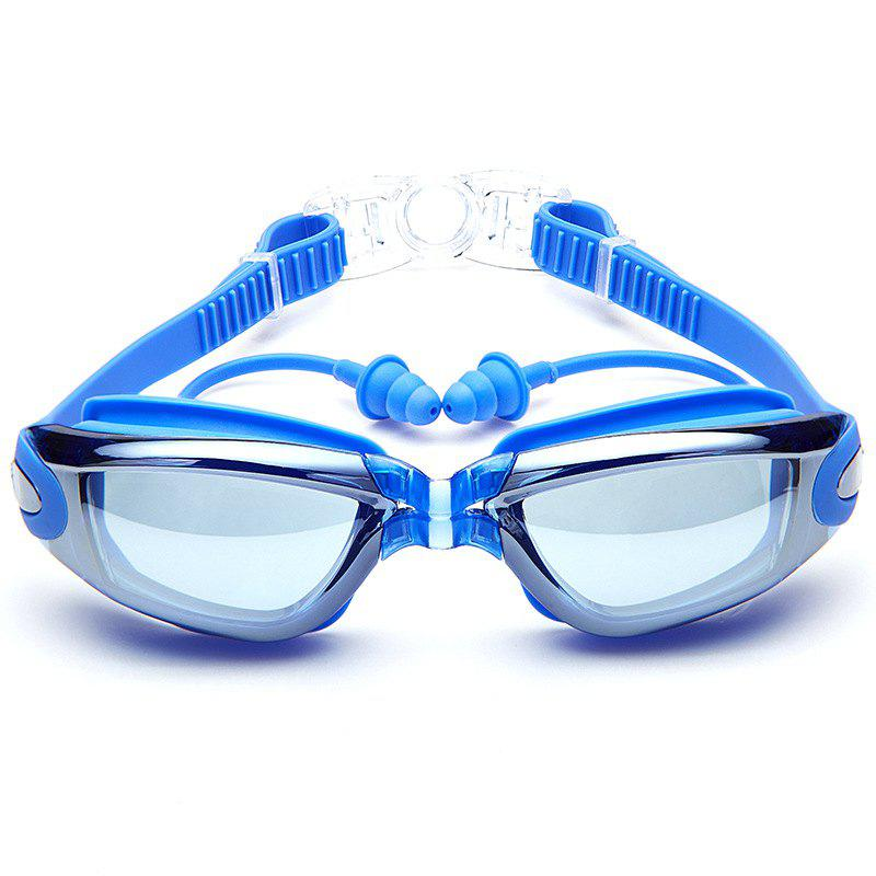 Swimming Goggles with Protective Case Nose Clip and Ear Plugs Mirrored  Clear Anti Fog Waterproof - BLUE