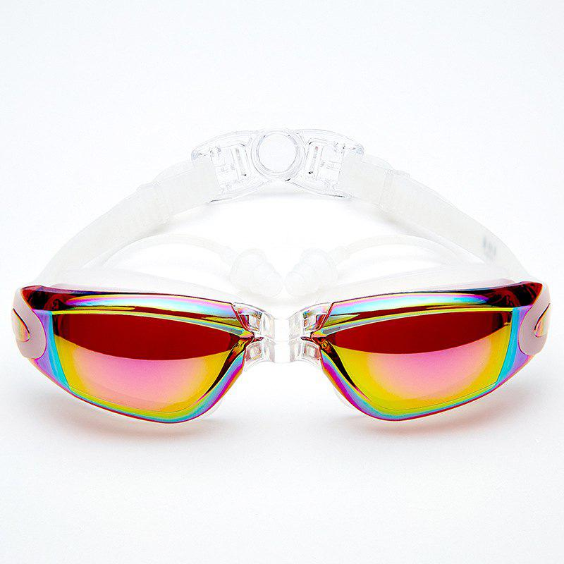 Swimming Goggles with Protective Case Nose Clip and Ear Plugs Mirrored  Clear Anti Fog Waterproof - COLOUR