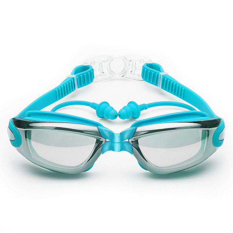 Swimming Goggles with Protective Case Nose Clip and Ear Plugs Mirrored  Clear Anti Fog Waterproof - LIGHT BLUE