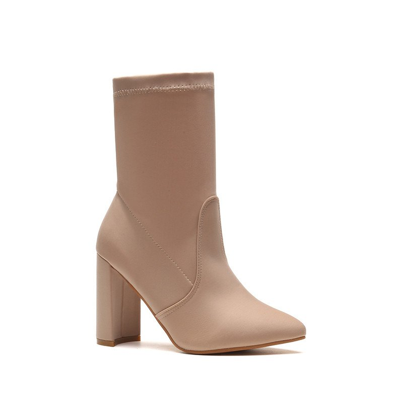Autumn and Winter New High-Heeled Thin-Legged Thick-Heeled Pointed in The Barrel of Socks Boots - CHAMPAGNE 41