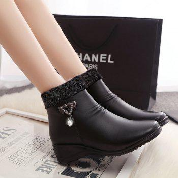 Winter Women 'S Middle-Aged and Elderly Flat Slope with Cashmere Thermal Non-Slip Shoes Martin Boots - BLACK 40