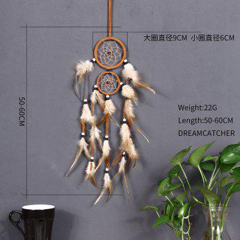 vintage home decoration Indian style feather dream catcher circular feathers wall hanging dreamcatchers decor for car - YELLOW