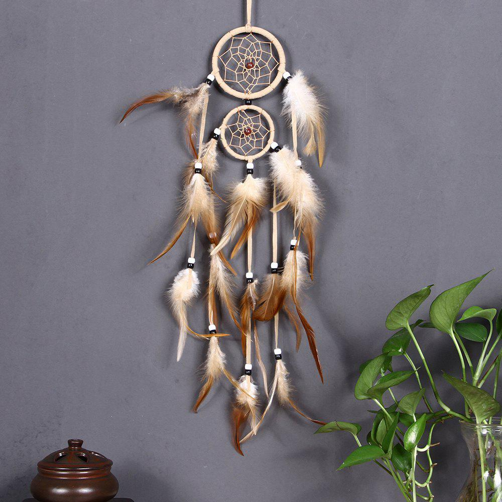 vintage home decoration Indian style feather dream catcher circular feathers wall hanging dreamcatchers decor for car - BEIGE