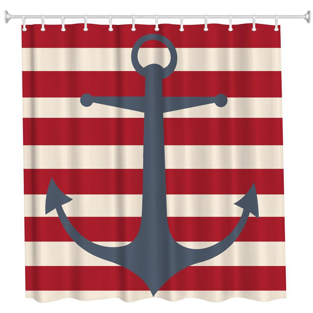 2018 Red Line And Anchor Polyester Shower Curtain Bathroom
