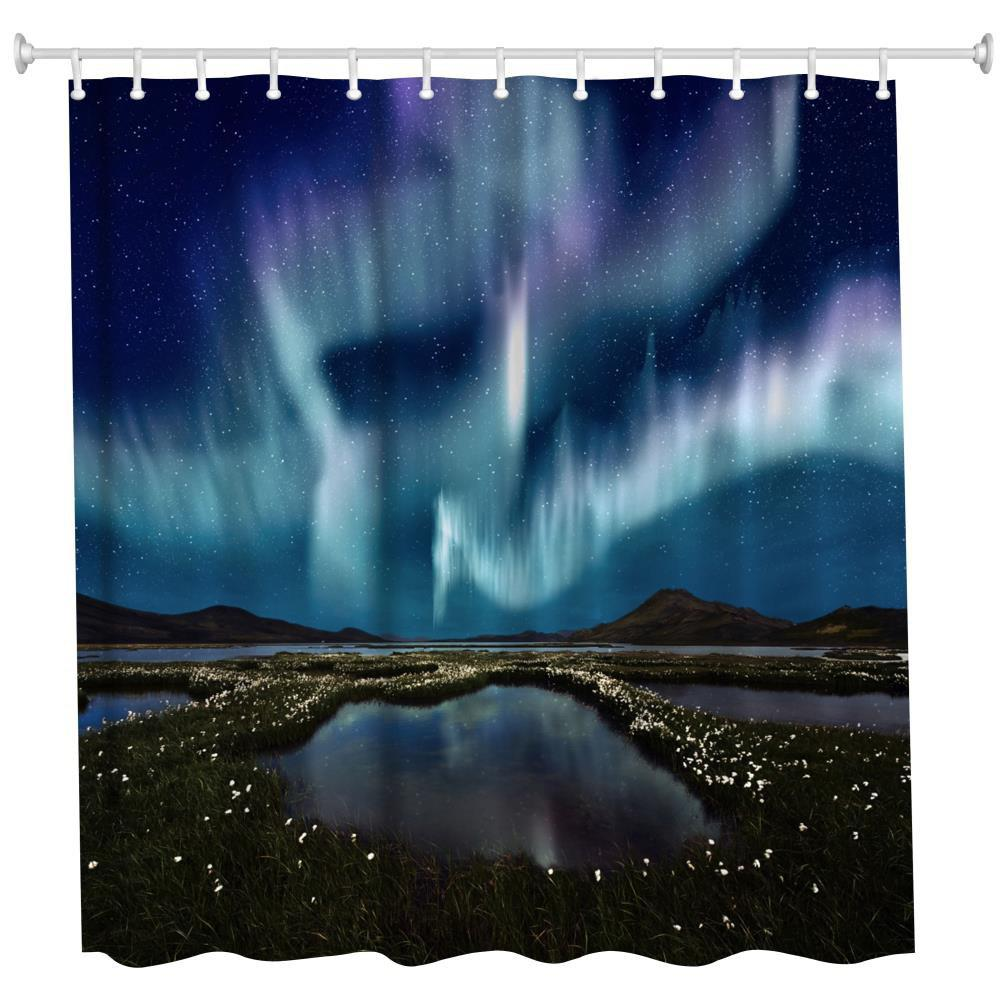 Aurora Polyester Shower Curtain Bathroom Curtain High Definition 3D Printing Water-Proof the crow in haunted house polyester shower curtain bathroom curtain high definition 3d printing water proof
