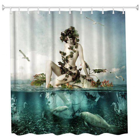 Paddle Girl Polyester Shower Curtain Bathroom Curtain High Definition 3D  Printing Water-Proof - COLORMIX a025cdaaf
