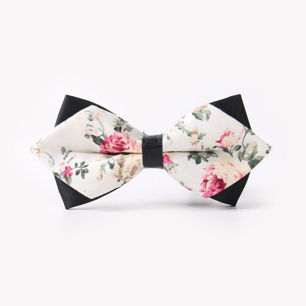 Leather Men'S Printing Bowknot - WHITE