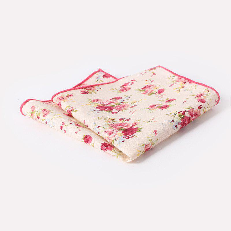 Men'S Printed Handkerchief Floral Pocket Towel - WHITE/RED FLOWERS