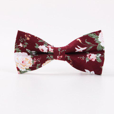 Printed Men'S Leisure Cotton Bow Tie - RED
