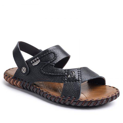 47d1b821fe5e Ummer Male Sandals Men Genuine Leather Shoes Open Toe Sandals Slippers  Fashion Casual Cowhide Beach Shoes
