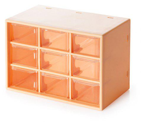 1 PcTransparent Nine Palace Drawer Type Ornament Box - YELLOW 18X9.8X12CM