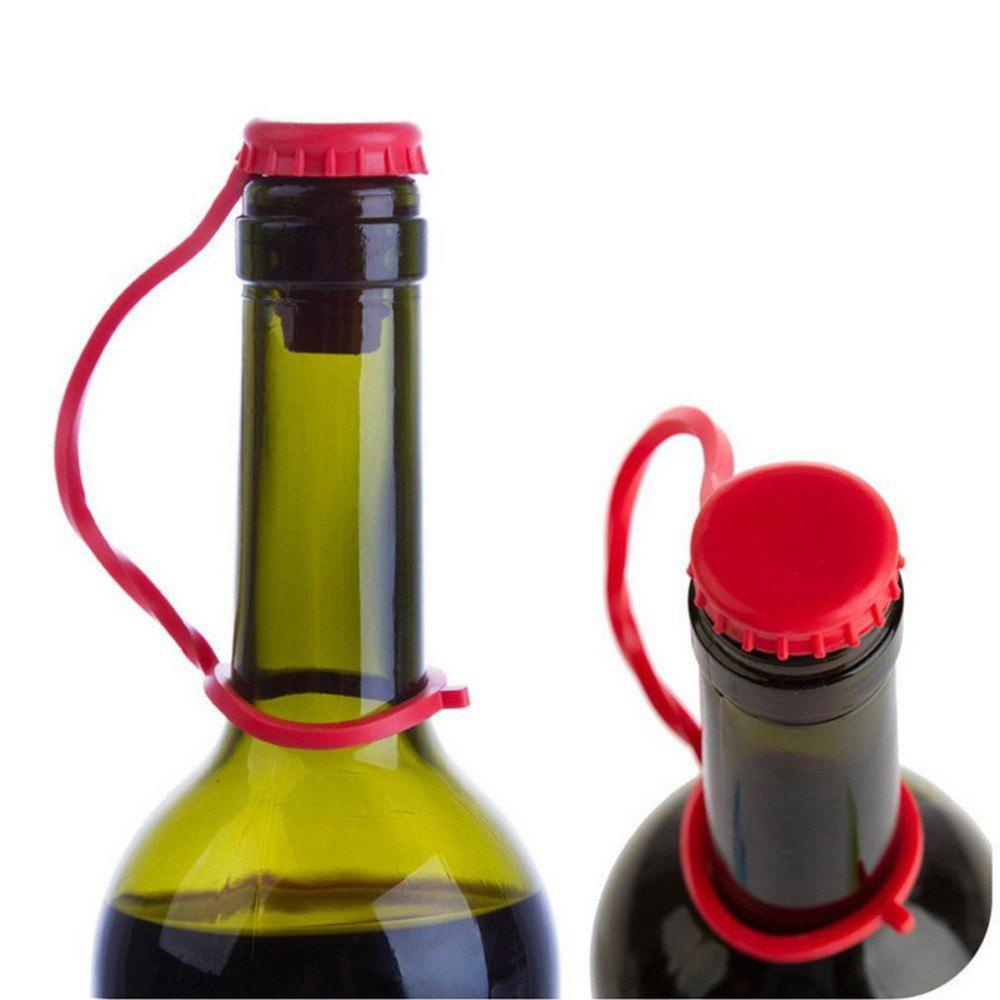 Kitchen Anti-Lost Hanging Button Condiment Bottle Stopper Silicone Beer Stopper Wine Stopper - ROSE RED