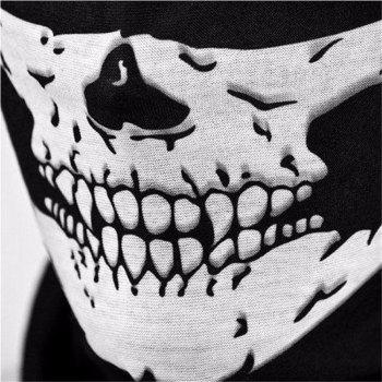Seamless Multi-Functional Scarf Riding Mask Warm Halloween Props Variety Face Towel - BLACK WHITE