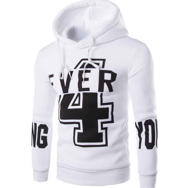 Men'S New Fashion Digital 4 English YOUNG Printing Design Hoodies - WHITE L