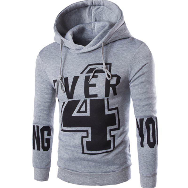 Men'S New Fashion Digital 4 English YOUNG Printing Design Hoodies - LIGHT GRAY L