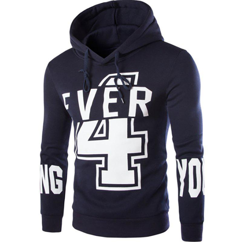 Men'S New Fashion Digital 4 English YOUNG Printing Design Hoodies - CADETBLUE L