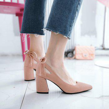 Women's Mid Heel Pumps Solid Color Elegant All-match Shallow Mouth Vogue Shoes - PINK 34