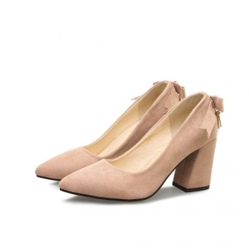 Women's Pumps Low Cut Pointed Toe Suede Thick Heel Ladylike Shoes - PINK 34