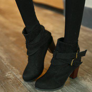 Thick With Two-button Point Female Fashion Short Boots - BLACK 39