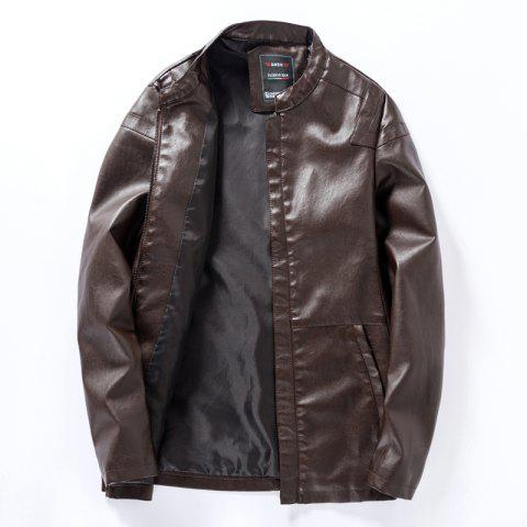 Men'S Zip-Up Leather Jacket - MOCHA L