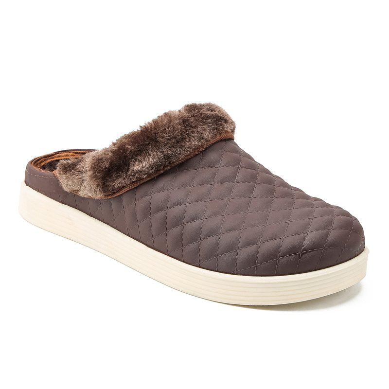 Men Winter Home Slippers Cotton Soft Winter Warm Indoor Bedroom Couple Shoes - BROWN 42