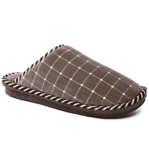 Men Winter Home Slippers Cotton Shoes Soft Warm Couple Shoes - BROWN 45