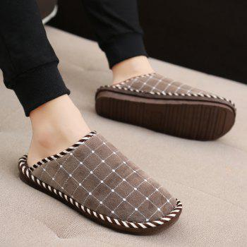 Men Winter Home Slippers Cotton Shoes Soft Warm Couple Shoes - BROWN 44