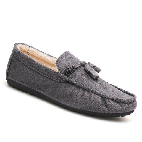 Men Peas Shoes Loafers Drive Warm Fashion Cotton Outdoor Flats Leisure Casual Sneakers - GRAY 40