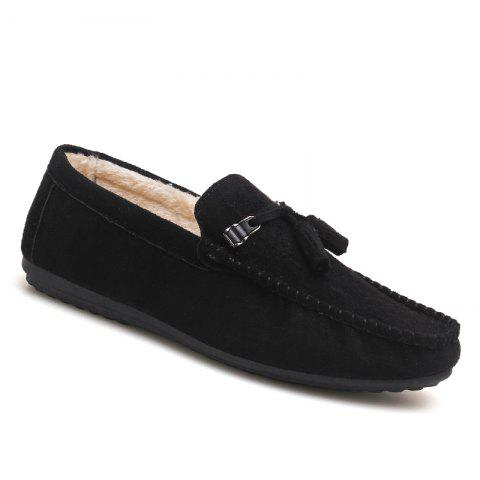 Men Peas Shoes Loafers Drive Warm Fashion Cotton Outdoor Flats Leisure Casual Sneakers - BLACK 44