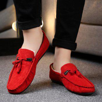Men Peas Shoes Loafers Drive Warm Fashion Cotton Outdoor Flats Leisure Casual Sneakers - RED 39