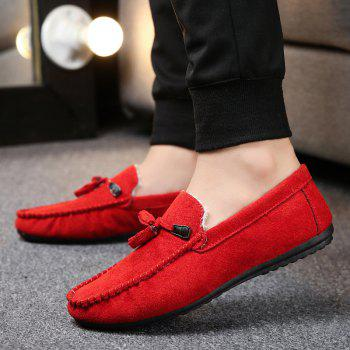 Men Peas Shoes Loafers Drive Warm Fashion Cotton Outdoor Flats Leisure Casual Sneakers - RED 40