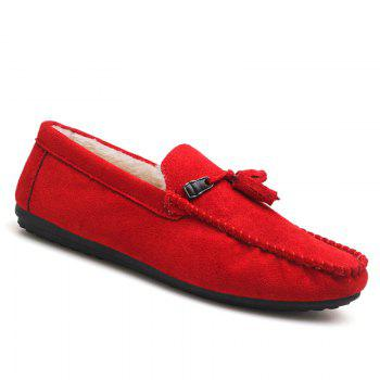 Men Peas Shoes Loafers Drive Warm Fashion Cotton Outdoor Flats Leisure Casual Sneakers - RED RED