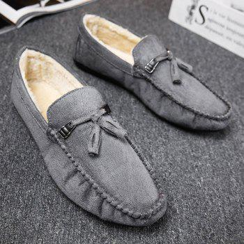 Men Peas Shoes Loafers Drive Warm Fashion Cotton Outdoor Flats Leisure Casual Sneakers - GRAY 44