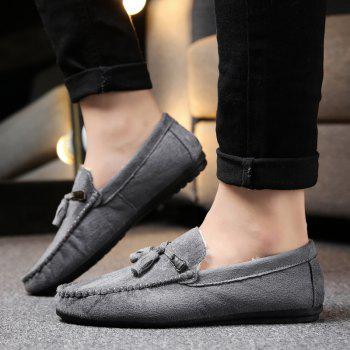 Men Peas Shoes Loafers Drive Warm Fashion Cotton Outdoor Flats Leisure Casual Sneakers - GRAY 42