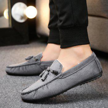 Men Peas Shoes Loafers Drive Warm Fashion Cotton Outdoor Flats Leisure Casual Sneakers - GRAY 39