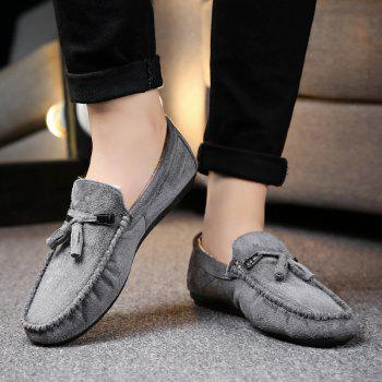 Men Peas Shoes Loafers Drive Warm Fashion Cotton Outdoor Flats Leisure Casual Sneakers - GRAY GRAY