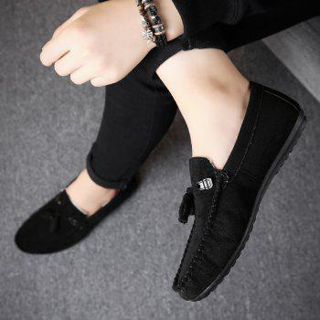 Men Peas Shoes Loafers Drive Warm Fashion Cotton Outdoor Flats Leisure Casual Sneakers - BLACK 43