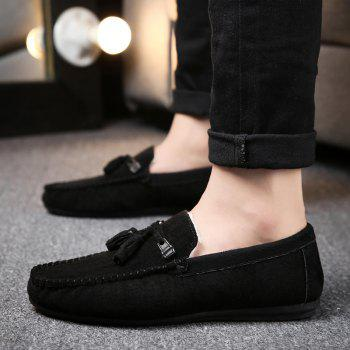 Men Peas Shoes Loafers Drive Warm Fashion Cotton Outdoor Flats Leisure Casual Sneakers - BLACK 41