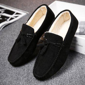 Men Peas Shoes Loafers Drive Warm Fashion Cotton Outdoor Flats Leisure Casual Sneakers - BLACK 42